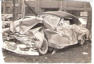 The Aderman car after the terrible crash.