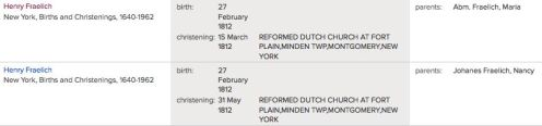The cousins, both named Henry Fralick, both born on 27 Feb, 1812.