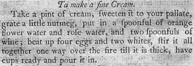A recipe for Cream from the American Cookery Cookbook.