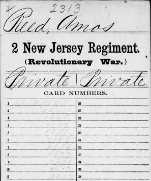 Amos Reed's Revolutionary War Service Record