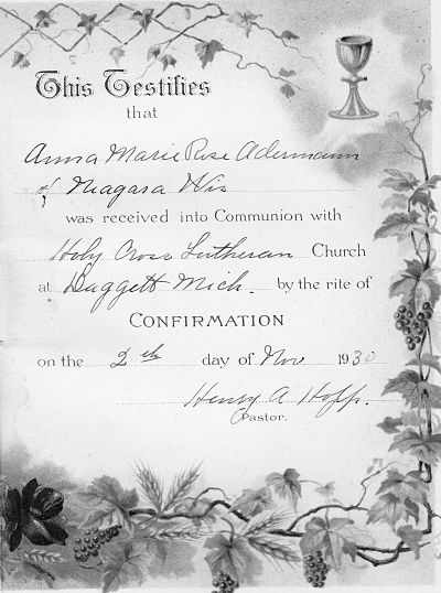 Confirmation Certificate for Anna Marie Rose Adermann