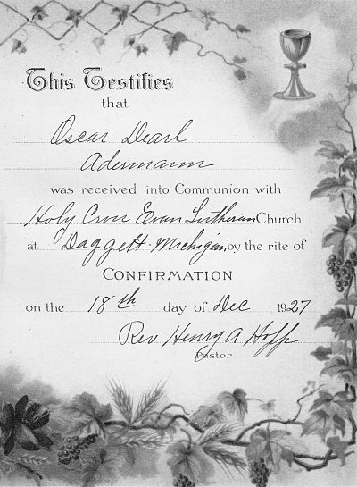 Confirmation Certificate of Oscar Dearl Aderman