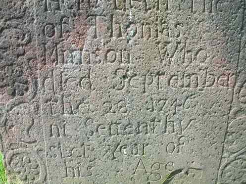 Gravestone for Thomas Munson (1670 - 1746).
