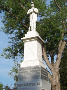 The monument in Thornrose Cemetery commemorating the fallen Confederate soldiers buried there.